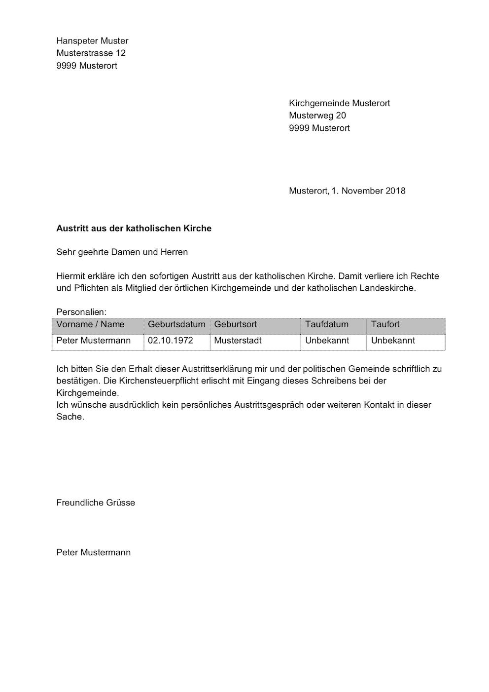 Kündigung Kirchensteuer